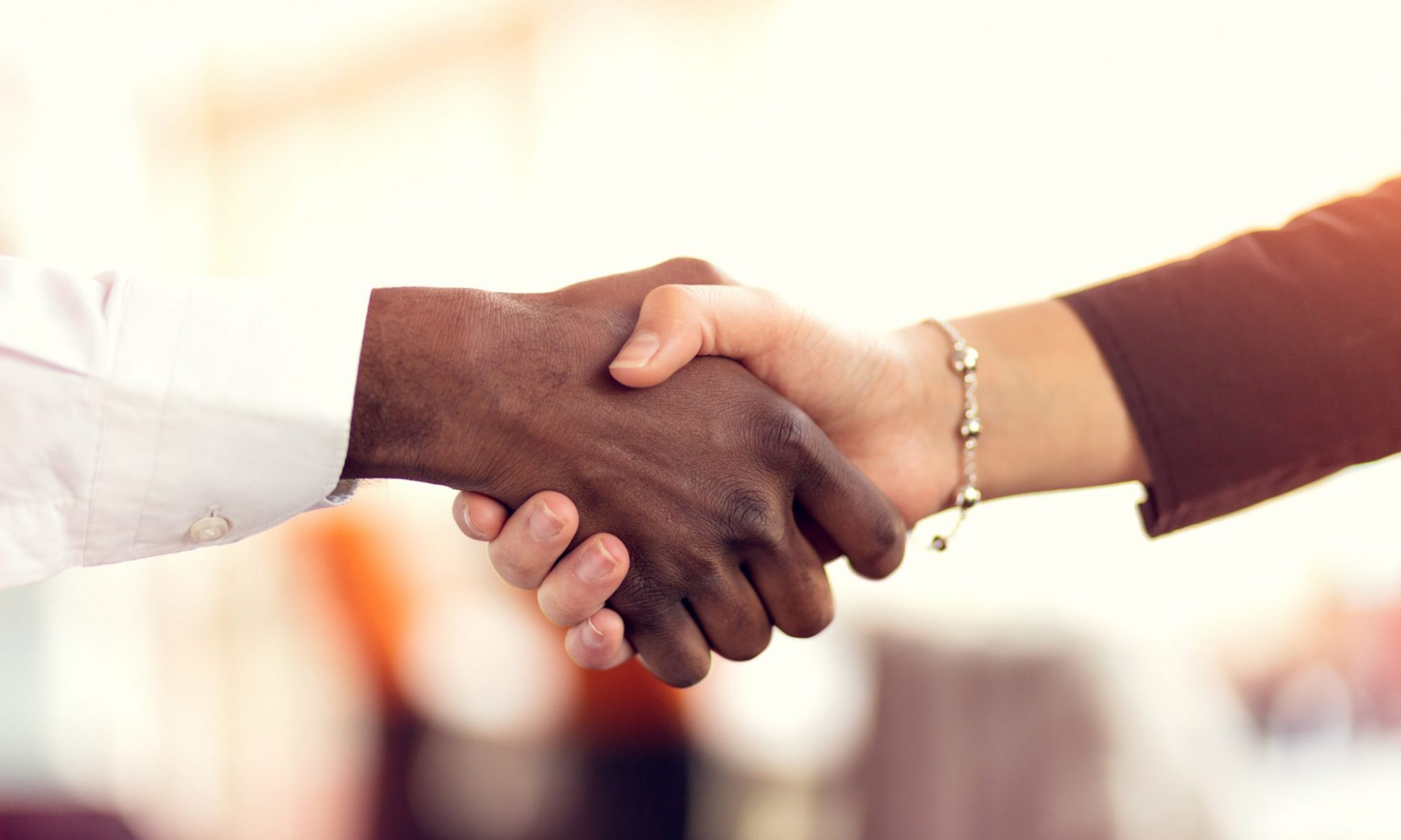 Two diverse hands are shaking. One hand has a long white sleeve, and the other has a silver bracelet with a black shirt sleeve—Symbolic to partnerships and diversity. Business Impact article on Strategic Business School partnerships.