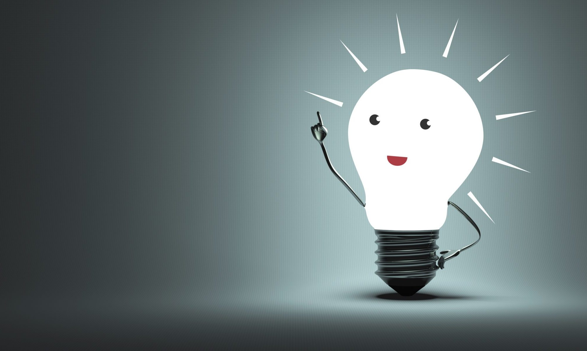 Here is a lightbulb glowing white with cartoon facial features and a metallic arm pointing upright; this is symbolic of innovation and ideas.