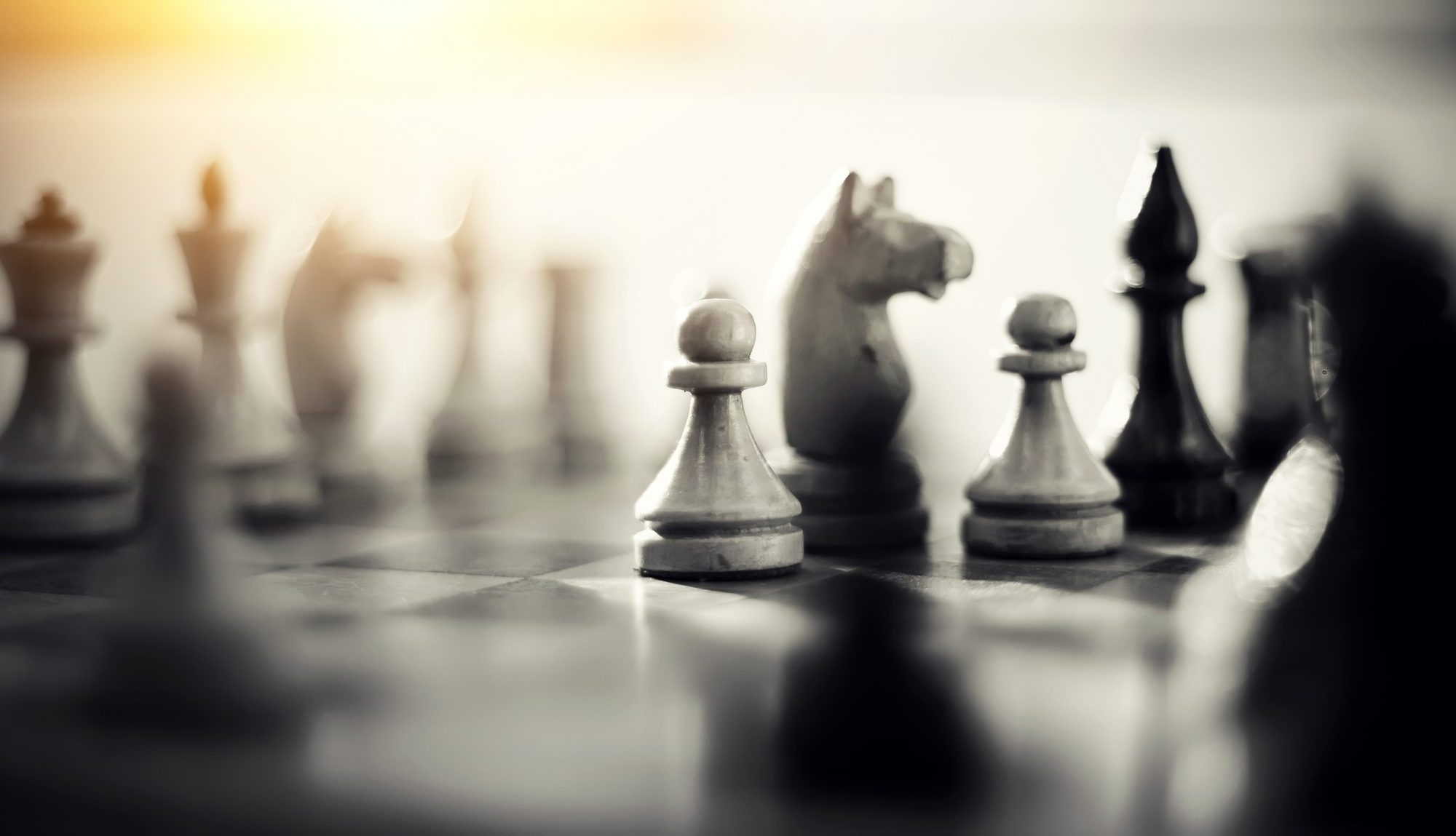Close up of a black and white chess game focusing on the pawns and the knights is symbolic of planning, strategy, and challenge.