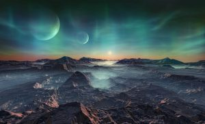 A dark Sci-fi landscape of mountains on an unknown world with two moons on a night horizon symbolises brave new worlds.