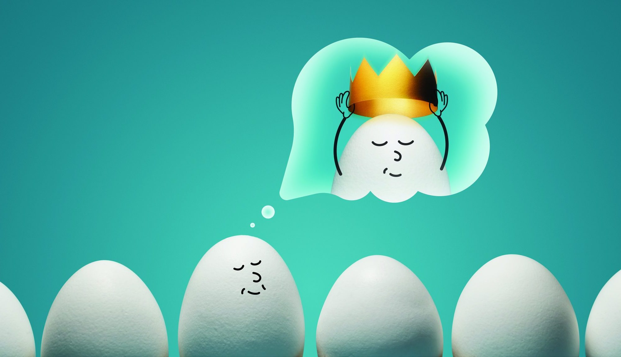 A line of eggs, and one egg is daydreaming to be king. This is symbolic to dreaming big, overconfidence and arrogance.