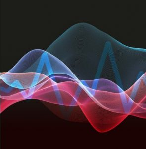 Waves and frequency to symbolise innovation and technology in education.
