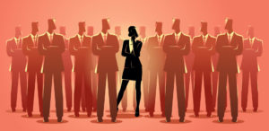 Business concept vector illustration of a businesswoman standing among businessmen. Living in a man's world concept.