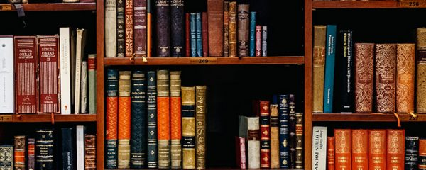 An old fashioned bookshelf case within a library.